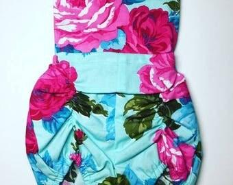 Aqua Rose Bib Romper