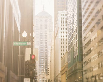Chicago Art, Skyline Photography, LaSalle Street, Board of Trade - Chicago Photograph, neutral wall art print, golden yellow, creme white