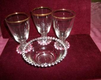 Anchor Hocking Berwick Candlewick Boopie 3  wine glasses/water goblets   Gold trim+bowl Sale Vintage Glassware