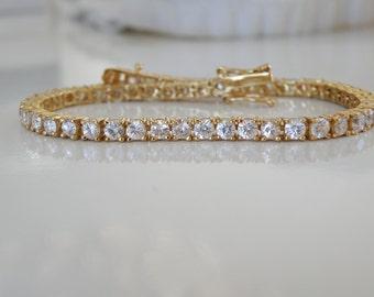 "18K Yellow Gold over Sterling Silver 925 Round Cut Tennis Cubic Zirconia CZ Diamond Like Bridal Wedding Brides Bracelet Fits 7"""