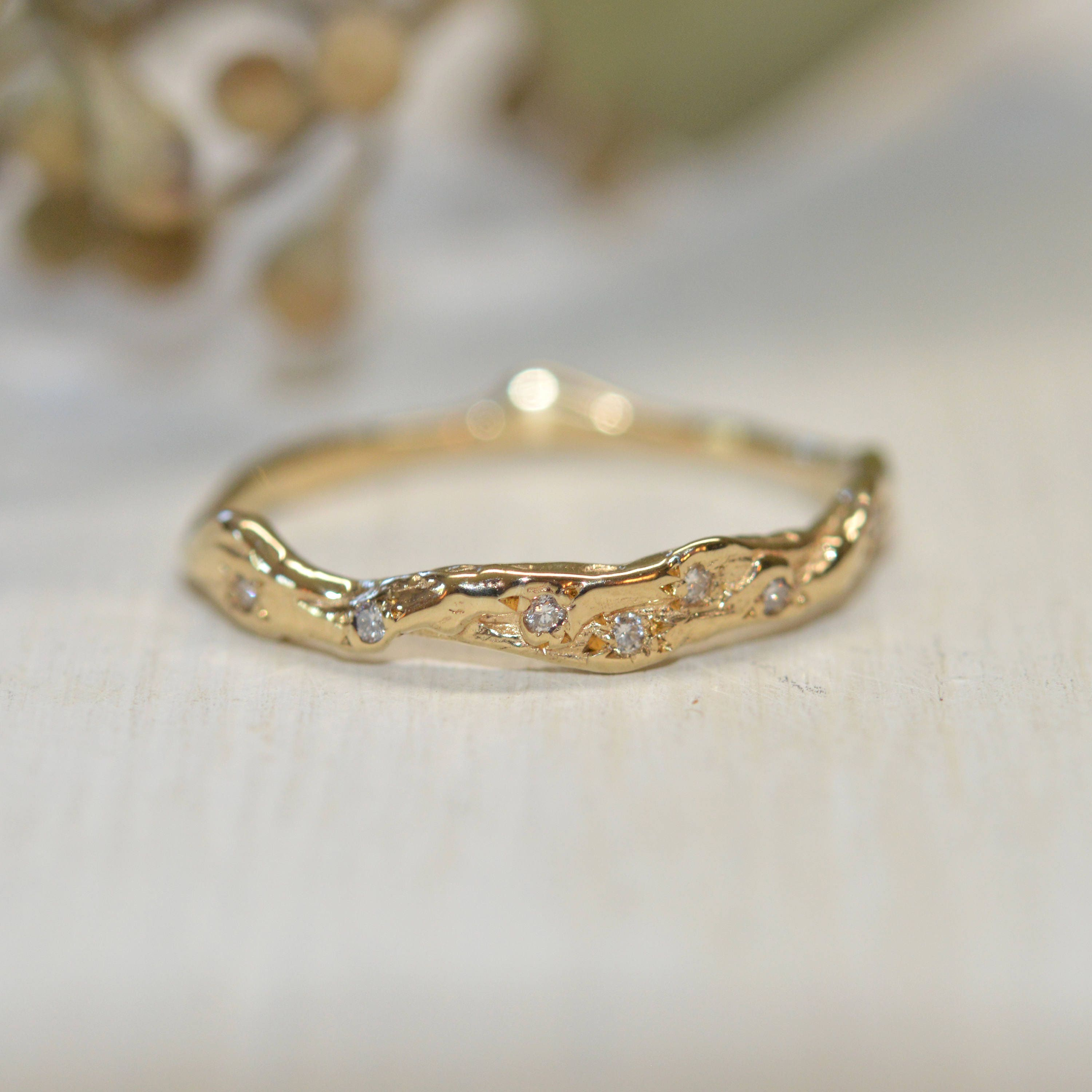 Twisted Diamond Ring Yellow Gold Delicate Nature Inspired