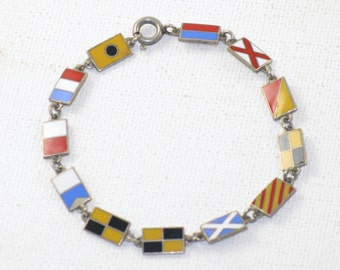 Vintage Enamel Nautical Flags Link Bracelet (BR-2-4)