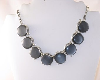 Vintage Silver Tone Gray Lucite Moonglow Necklace (N-4-2)