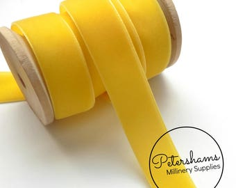 22mm Berisfords Velvet Ribbon for Millinery, Hat Trimming & Crafts 1 metre (1.09 yards) - Yellow