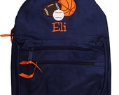 Boys Backpack, Sports Backpack, Personalized Backpack, Monogrammed, Choose Your Own Colors, Custom Backpack