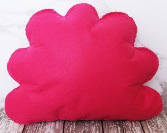 Hot Pink Cloud Cushion, Cloud Shape Throw Pillow, Decorative Pillow, Plush Cloud, Cloud Nursery, Kids Room Decor, Baby Room Decor