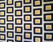"Vintage 70s Mod Fabric 2 yards 44x77"" dress weight yellow black white"