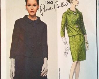 """Vintage 60s Vogue Paris Original 1662 Pierre Cardin Suit Pattern 34"""" bust Mod Jackie O designer Uncut FF"""