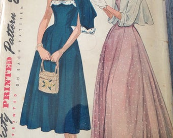 Vintage 40s Sun Dress Pattern 36 bust Simplicity 2895