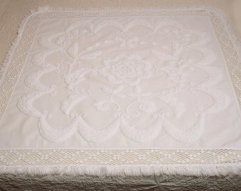 Stunning Matching Pair of White Antique French Chenille Continental or European Lay-over Pillow Shams or Table Toppers