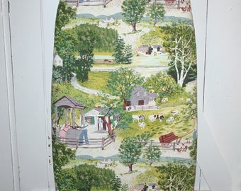 "Sweet Grandma Moses ""At the Well"" Vintage Barkcloth Ironing Board Cover - Fits Boards up to 18 Inches Wide"