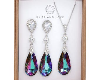 Swarovski Vitrail Light Purple Faceted Teardrop Crystal Earrings, Lavender Wedding, Bridal Earrings, Bridesmaid Jewelry, Weddings - Wasima
