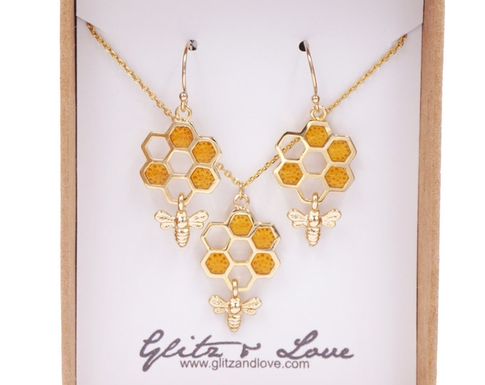Honey bee on honeycomb earrings necklace set, bumble bee charm, bee keeper, cute bees, girlfriend bestie, topaz honey bee, meant to bee