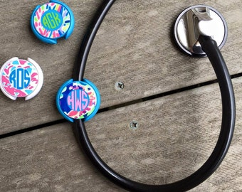 Monogrammed Stethoscope Badge Cute lilly Inspired Patterns Nurse, Medical