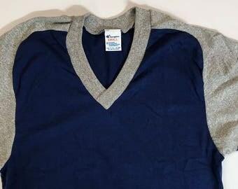 Vintage Men's Tutone Champion V Neck T Shirt Sz Small Dead Stock Hipster