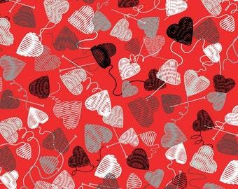 Kanvas By Benartex - Wool Ewe Be Mine - Red Love Knit cotton Fabric by the yard 8434B-10