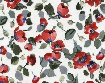 Timeless Treasures - Fresh Cut - Small Floral Toss Poppies - White - Fabric by the Yard C4726-WHITE