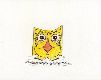 Owl Cards One Set of Five 4 x 5.5 inch Note Cards with Matching Envelopes