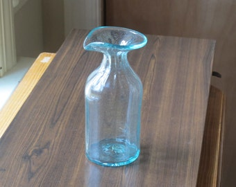 Vintage Hand Blown Glass Wine Carafe / Small Water Pitcher Handblown Ribbed Glass Ice Blue Bottle Decanter Aqua Blue Vase Sunlight Catcher