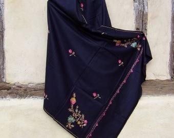 "Black Flower Embroidered Pashmina. Nice shawl/stole. Pure wool 84 x 40"". Kashmir."