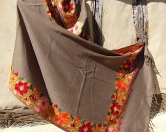 "Fine Wool Coffee Luxurious shawl/stole. Pure  wool . Kashmir. 80 x 20"" 203 cm x 50 cm"