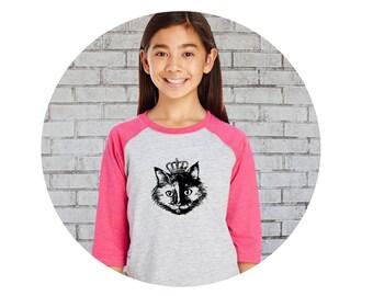 Cat Shirt, Cat Baseball Tee, Princess Cat, Cat with Crown, Youth Shirts, Womens Shirt, Family Shirts, Cat Lover, Raglan Sleeve, Graphic tee