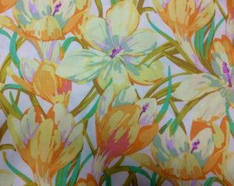 Sale fabric, bargain remnant, Martha Negley Crocus, yellow, Farmington collection, OOP, three yard remnant
