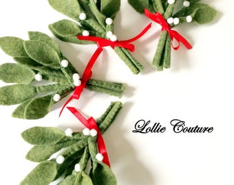Mistletoe, felt Christmas, felt ornaments, holiday mistletoe, felt mistletoe