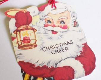 Retro Santa Tags - Santa Claus - Gift Tags - Set of 3 - Christmas Cheer - Retro Christmas - Christmas Lamp - Vintage Santa  - Merry Xmas