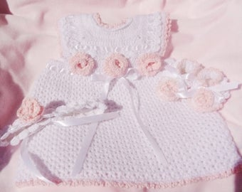 Crocheted Newborn Sundress Pinafore Headband Booties Set w Pink Roses Baby Girl