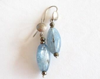 Kyanite Hammered Silver Earrings