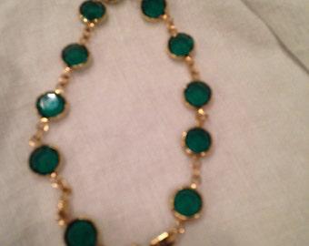Swarovski Emerald Green Bezel Crystal Bracelet
