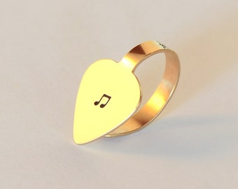 Bronze Thumb Pick with Music Note, Personalized and Custom Finger and Thumb Guitar Pick – TP204