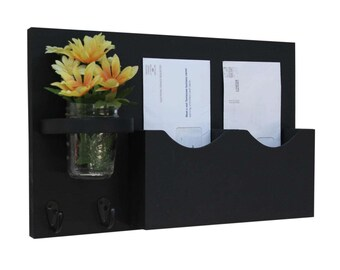 Mail Key Holder - Mail Organizer - Mail Holder - Double Slots - Key Hooks - Jar Vase - Organizer - Painted Distressed Wood