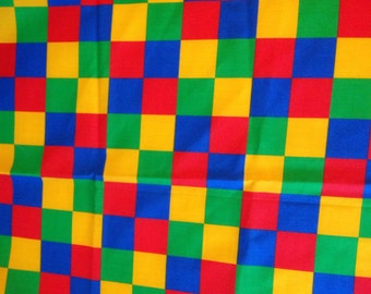 Vintage Fabric - Bright Primary Colored Squares - Weilwood Fabrics - Lightweight Fabric- 3/4 Yard