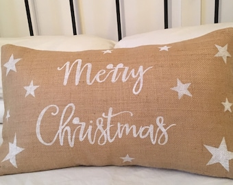 Merry Christmas burlap pillow cover (hessian cushion cover)