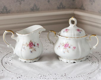 Edelstein Florence Bavarian Bone China Floral Covered Sugar Bowl and Creamer Set