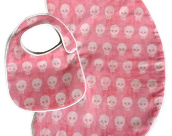 Pink and White Baby Skulls Baby Bib and Burp Cloth Set