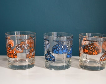 Vintage Set of Three Stained Glass Lamp Print Lowball Glasses