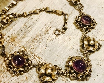 Sunning Art Nouveau Italian Peruzzi Purple Amethyst Sterling Silver Flower Vintage Antique Necklace Singed