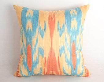 15x15 orange and blue ikat pillow cover for SALE. decorative pillow cushion case, cotton pillow