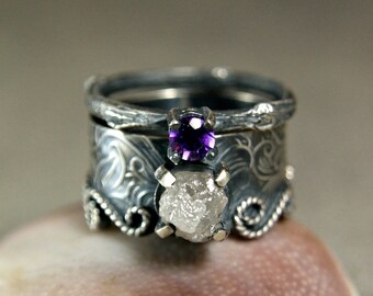 Rough Diamond Mermaid Ring, Sterling Silver Wide Band Wedding Set, Amethyst Jewelry, Custom Engagement Ring