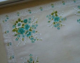 Handkerchief White  Hand Painted Blue And White Flowers  Appliqued Edging FREE SHIPPING