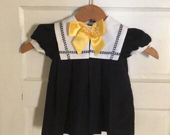 Vintage 18 Month Blue Sailor Dress. Vintage Baby Clothes. 1980s Nautical Youngland Dress. School Dress, Church Dress. Vintage Baby Dress.