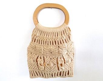 Vintage Boho Macrame and Wood Purse