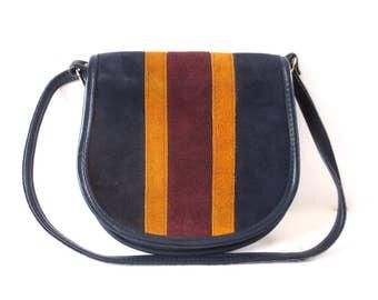 Vintage Striped Suede Saddle Bag