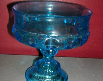 Vintage Indiana Glass Blue King's Crown Thumbprint Compote