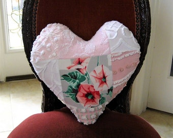 Valentine Patchwork Heart Pillow - Wilendur Morning Glories Nosegay and Vintage Chenille