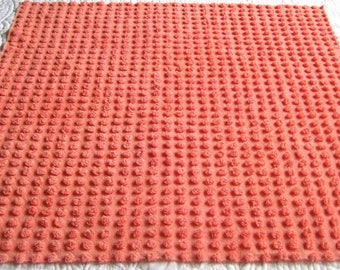 "Fluffy Salmon Bates Pops Vintage Chenille Bedspread Fabric 25"" x 24"""