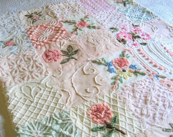 """Vintage Chenille Baby or Lap Quilt - """" Girly Girl"""" -  Heirloom quality handmade vintage chenille baby quilt."""